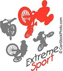 lovas, sport., -, extrém, vektor, illustration., bmx