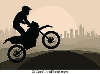 lovas, vektor, árnykép, motorkerékpár, motorkerékpár