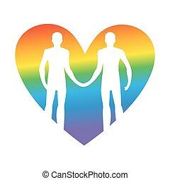 love., ゲイである, ベクトル, 把握, lgbt, 一緒に, 人, hands., イラスト, heart., forever.