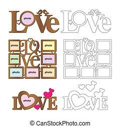 'love', 写真, バレンタイン, 切断, 贈り物, day., 完全, コラージュ, frames., 碑文, cutting., 写真, セット, 機械, 木, レーザー, テンプレート, metal., st. 。, フレーム