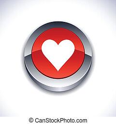 Love metallic 3d vibrant round icon.
