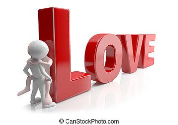 love., 3d, image., en, un, fondo blanco
