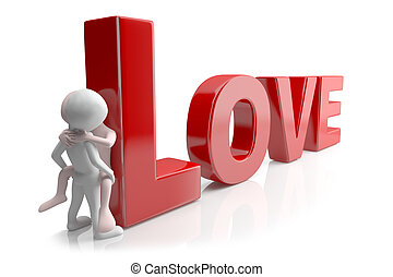Love. 3d image. On a white background
