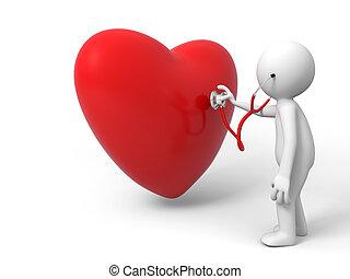 love - A person are diagnosing the heart
