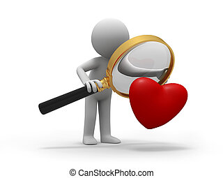 love - A person when looking at a heart