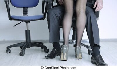 love affair at of two office workers. work relationships and...