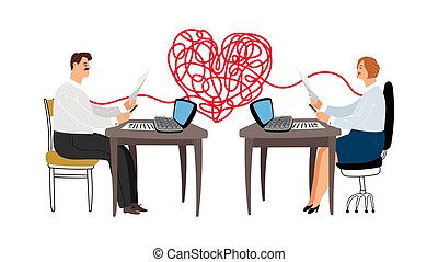 Love affair at work vector illustration. Colleagues are in ...