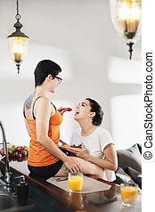 Love Affection Flirt For Lesbian Couple Eating Breakfast At Home