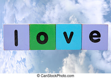 love against clouds with clipping path