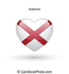 Love Alabama state symbol. Heart flag icon.