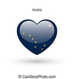 Love Alaska state symbol. Heart flag icon.