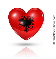 Love Albania symbol. 3D heart flag icon isolated on white with clipping path