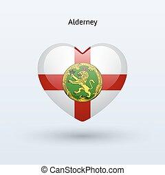 Love Alderney symbol. Heart flag icon.