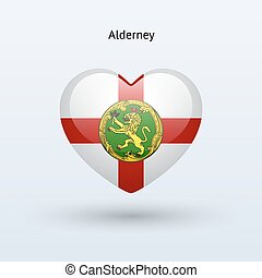 Love Alderney symbol. Heart flag icon. Vector illustration.