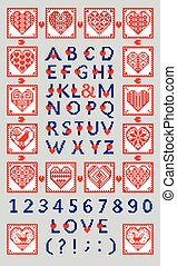 Love alphabet and numbers in the ethnic style