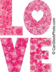 LOVE Alphabet with Flowers Illustration