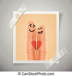 love., amour, frame., vertical, photo, selfie, moderne, doigts, smiley, invitations, motif, fingers., séance, aviateur, mariage, paire, coloré, ou, heureux