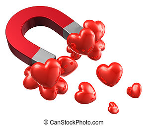 Love and attraction concept: lot of red hearts attracted by...
