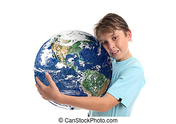 Love and care for our world planet earth - A boy embraces...