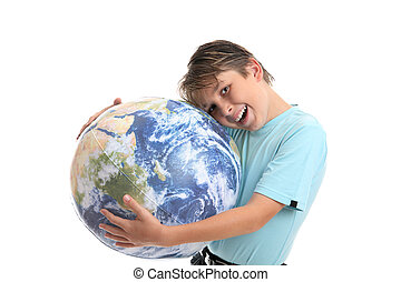 Love and care for the Earth and environment - A young boy...