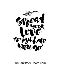 Love and charity concept hand lettering motivation poster.