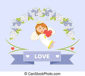 Love and Cupid with Heart, Valentines Day Greeting - ...