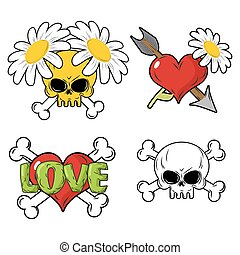 Love and death Set elements. Skull and red heart. Flower and arrow of Cupid. Crossbones.