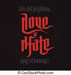 Love and Hate lettering