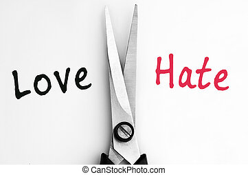 Love and Hate words with scissors in middle