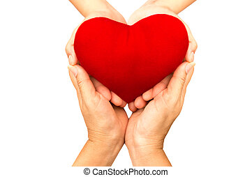 Love and health care Concept , Woman hands holding red heart isolated