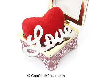 Love and heart in a box