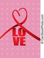 Love and Heart Ribbon Valentines Day Vector Design