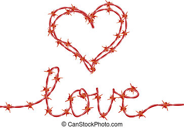 love and heart with red barbed wire, vector
