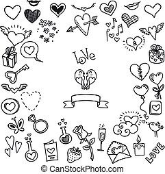 love and hearts doodles