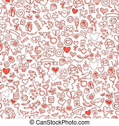 love and hearts doodles, seamless background
