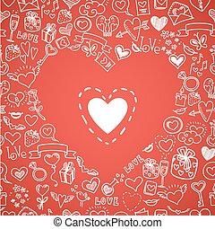 love and hearts doodles, vector background