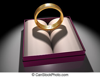 Love and Marriage - Illustration of a gold ring with a...