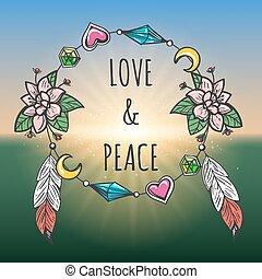 Love and Peace emblem boho style