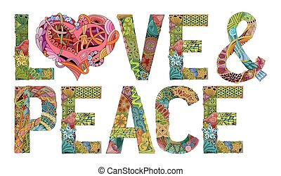 LOVE and PEACE. Vector decorative zentangle object