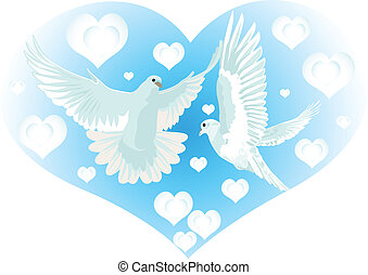Love and Pigeons - Flying doves on the background of an...