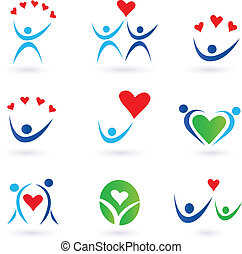 Vector pack of love, relationship, community and family icons for websites and magazines.
