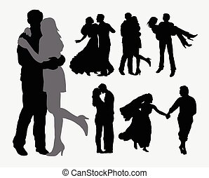 Love and tenderness couple silhouettes. Good use for symbol...