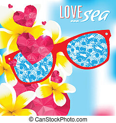 Love and the sea vector summer light illustration - Love and...