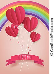 Love and Valentine Day concept, Paper hot air balloon heart...