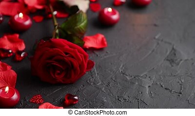 Red rose, petals, candles, dating accessories, boxed gifts,...