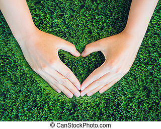 Love and Valentine's Day concept. Woman hand in shape of heart on green grass background