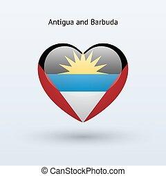 Love Antigua and Barbuda symbol. Heart flag icon. Vector...