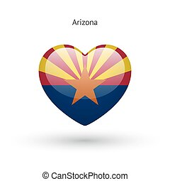 Love Arizona state symbol. Heart flag icon. Vector...