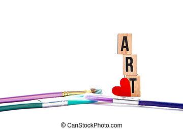 Love Art - blocks and brushes on white background