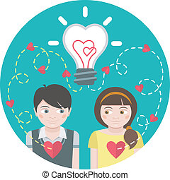 Round illustration of love at first sight with a light bulb and traces of hearts